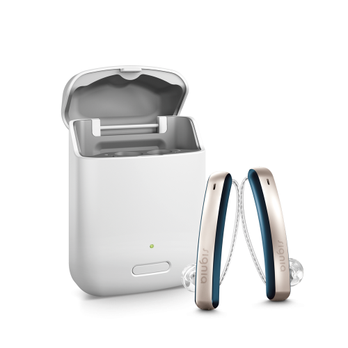 Styletto Hearing Aids out of charger